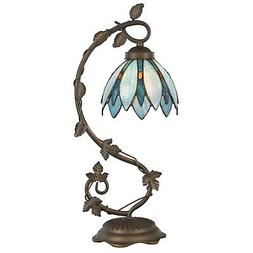 Tiffany Style Table Lamp Accent Flower Shape Stained Glass H