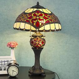 Tiffany Style Table Lamp Double Lit Desk Lamp Stained Glass