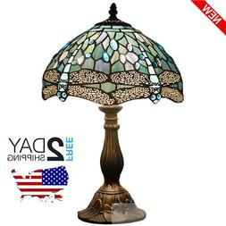 Tiffany Lamp Sea Blue Stained Glass and Crystal Bead Dragonf