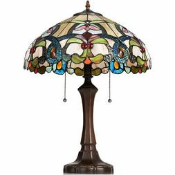 Tiffany Table Lamp Stained Glass Shade w/Resin Base Circular