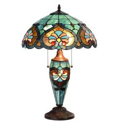 Tiffany Style Table Lamp Victorian Desk Lamp Stained Blue Gl