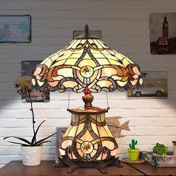 Tiffany Style Table Lamp Jeweled Desk Lamp Floral Stained Gl