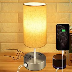 Touch Control Bedside 3-Way Dimmable Table Lamp E26 LED Bulb