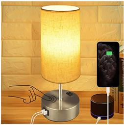 Touch Control Bedside Lamp,3-Way Dimmable Table Lamp with Du