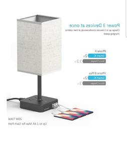 Touch Control Bedside Table Lamp with 3 USB Charging Port an