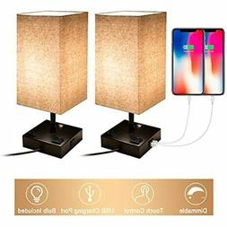 Touch Control Dimmable Table Lamp With 2 USB Charging Ports