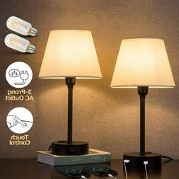 ZEEFO Touch Control Table Lamp Built in Dual USB Ports & AC