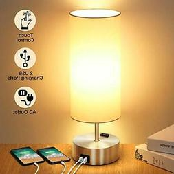 Touch Control Table Lamp with 2 Fast Charging USB Ports and