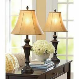 Traditional Table Lamp Set 2 Vintage Desk Lamps Pair Shades