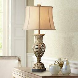 Traditional Table Lamp Washed Gold Urn Beige Shade for Livin