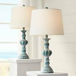 Traditional Table Lamps Set of 2 Blue Washed for Living Room