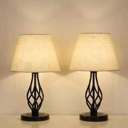 Traditional Table Lamps Set of 2 Dark Bronze Metal  Drum Sha