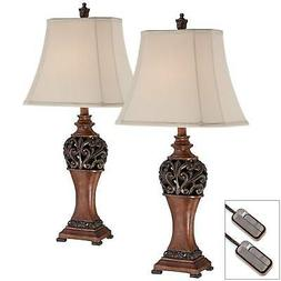 Traditional Table Lamps Set of 2 with Table Top Dimmers Bron