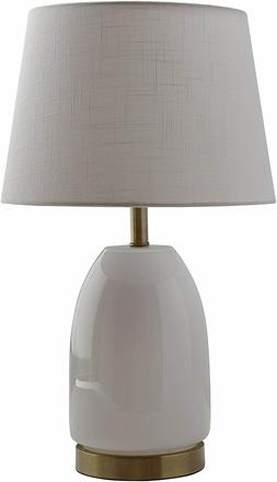 Rivet Transitional Glass Lamp With Bulb, White with Brass Tr