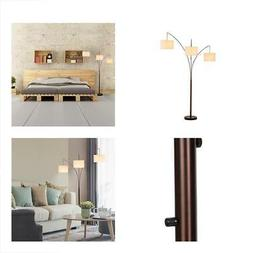 Brightech Trilage - Modern LED Arc Floor Lamp with Marble Ba