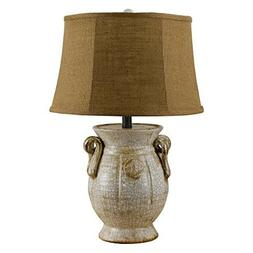 St. Tropez 24 H Table Lamp with Empire Shade, White / Cream,