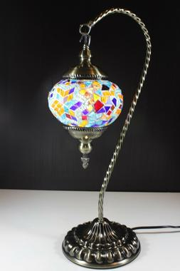 Turkish Handmade Mosaic Swan Neck Table Bedside Night Accent