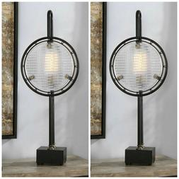 """TWO INDUSTRIAL DECOR AGED METAL TEXTURED GLASS  XL 37"""" ARDEL"""