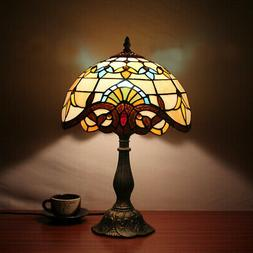 US Round Table Lamp Desk Tiffany Style Stained Glass Lit Bas