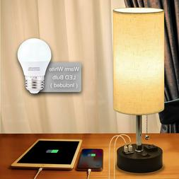 USB Bedside Lamp,Cotanic Modern Table Lamp with Charging Por