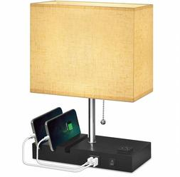 USB Bedside Lamp With Phone Stands,Hansang Table Lamp Dual C