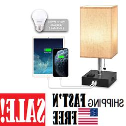 USB Bedside Table & Desk Lamp with Dual USB Port and Outlet,