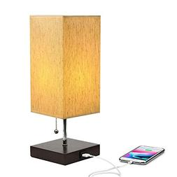 TESLACOM USB Bedside Table Lamp,Desk Lamps with Charging Por