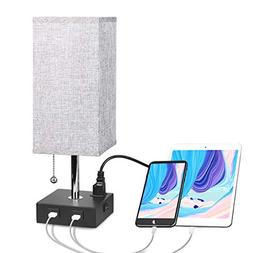 USB Bedside Table Lamp with Outlet, Aooshine Modern Solid Wo