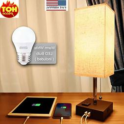 USB Bedside Table Lamp, Minimalist Bedside Desk Lamp with Ch