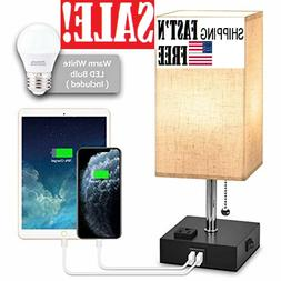 USB Bedside Table Lamp,Nightstand Lamp with Dual Charging Po