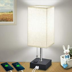 USB Bedside Table Lamps, Modern Nightstand Lamp with Chargin