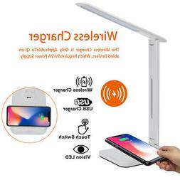 USB Charge LED Touch Desk Table Lamp QI Wireless Phone Charg