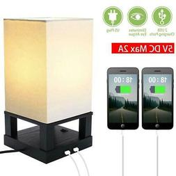 USB LED Wooden Bedside Table Lamp Desk Lamps Nightstand Ligh