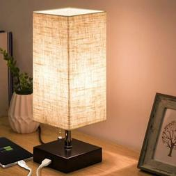 ZEEFO USB Table Lamp, Modern Design Bedside Table Lamps with