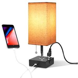 "USB Table Lamps Bedside "" Desk With Port And Outlet, Acaxin"
