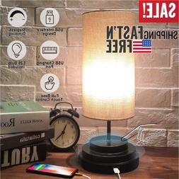 USB Touch Control Table Lamp with outlet USB port, E26 Bulb