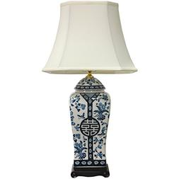 """Oriental Furniture 26"""" Vase Lamp in White and Blue"""