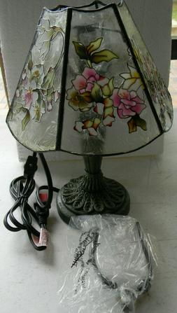 """VICTORIAN STAINED GLASS STYLE 12"""" FLORAL PATTERN ELECTRIC TA"""