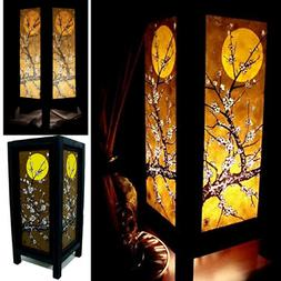 Vintage Asian Table Lamp Bedside Night Light Handmade Sakura