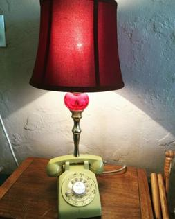 Vintage Upcycled Rotary Dial Yellow Phone Lamp