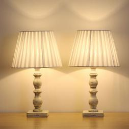 White Bedside Table Lamps Set of 2 with Fabric Shade Wooden