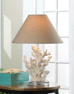 Set of 2 White Coral Table Lamps with Neutral Color Fabric S