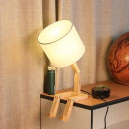 HAITRAL White Transformable Natural Wood Table Lamp Perfect