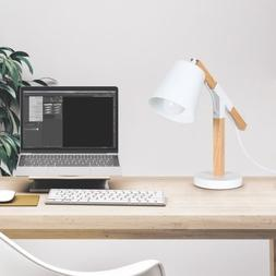 HAITRAL White Wooden Table Lamp With Metal Base Desk Lamp Fo