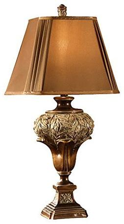 Crestview Collection Wingate Table Lamp, Dark Gold Fabric Sh