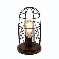 Surpars House Wood Retro Table Lamp Metal Shade Edison Bulb