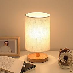 Wood Table Lamp, HQOON Bedside Table Lamps for Bedroom, Livi