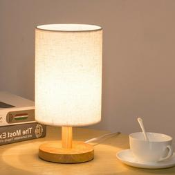 Wood Table Lamp Bedside Desk Lamp With Round Flaxen Fabric S