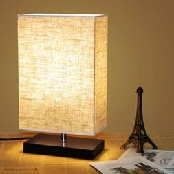 ZEEFO Wood Table Lamp, Retro Solid Wood and Fabric Shade Rel