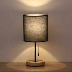 HAITRAL Wooden Table Lamps Black Bedside Desk Lamp with Blac